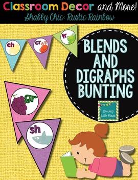 Classroom Decor:  Blends/Digraphs Bunting- Rustic Rainbow Shabby Chic Burlap