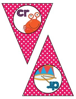 Classroom Decor:  Blends/Digraphs Bunting-pink