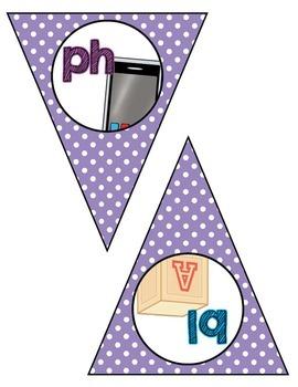 Classroom Decor:  Blends/Digraphs Bunting- purple