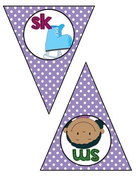 Classroom Decor:  Blends/Digraphs Bunting- purple