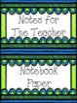 Classroom Decor - Blue Green Bin Labels
