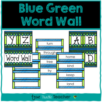 Classroom Decor - Blue Green Word Wall