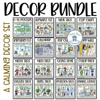 Classroom Decor Bundle Blue and Green Theme
