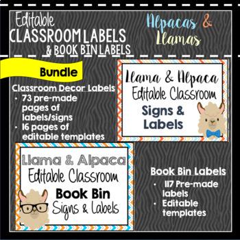 Classroom Decor & Book Bin Bundle: Alpaca and Llama