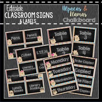 Classroom Decor & Book Bin Bundle: Alpaca and Llama CHALKBOARD