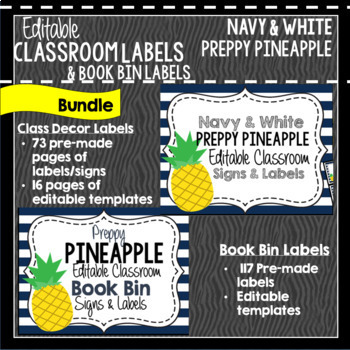 Classroom Decor & Book Bin Bundle: Preppy Pineapples