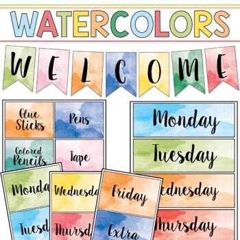 Classroom Decor & Book Bin Bundle: Watercolors