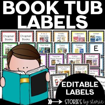 Book Tub Labels (Blue, Green, Purple, & Pink)