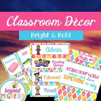 Classroom Decor Bright & Bold Bundle | Behavior Chart | Aw