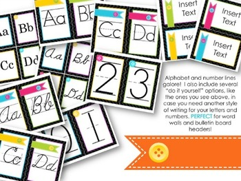 Classroom Decor: Bright Colors & Buttons {EDITABLE/FREE UPDATES!}
