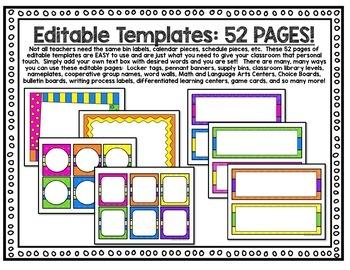 Classroom Decor Bright Colors Classroom - EDITABLE Decor