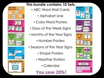 Classroom Decor Bundle: ABC Line, Colors, Ten Frames, Weather, Calendar and more