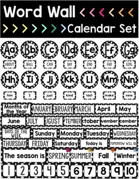 Classroom Decor Bundle - Black & White Polka Dot {Fun Font}