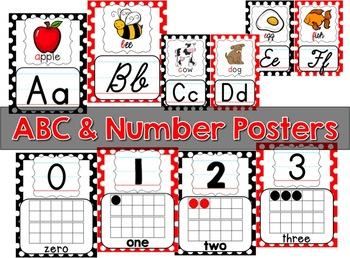 Classroom Decor Bundle - Black, White & Red Polka Dot
