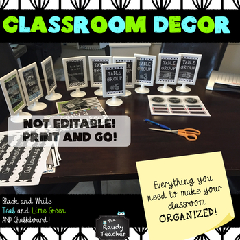 Classroom Decor Bundle: Black, White, Teal, Lime Green and Chalkboard