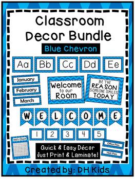Classroom Décor Bundle: Blue Chevron