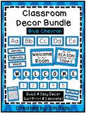 Classroom Décor Bundle: Blue Chevron, Alphabet, Desk Tags, Signs, Months