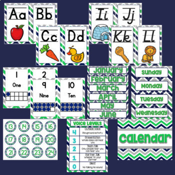 Classroom Décor Bundle {Blue, Green, & Gray Chevron}