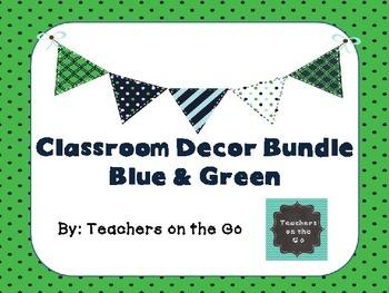 Classroom Decor Bundle: Blue and Green