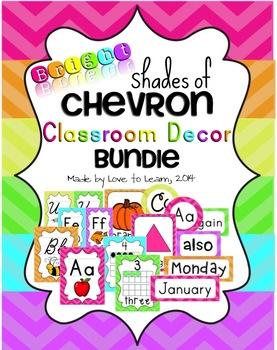 Classroom Decor Bundle - Bright Shades of Chevron