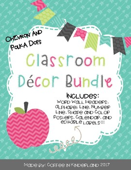 Classroom Decor Bundle - Chevron and Polka Dots