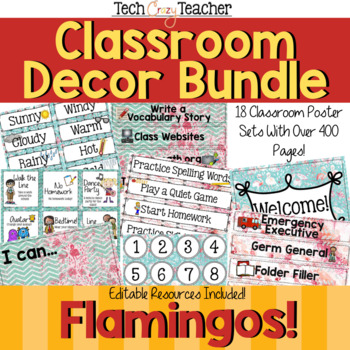 Classroom Decor Bundle: Flamingos!