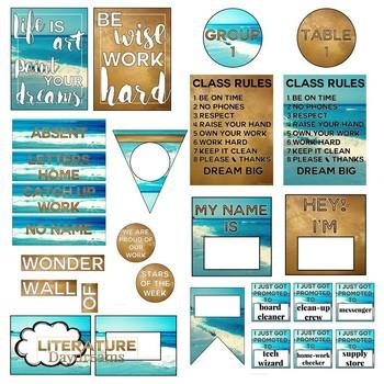 Classroom Decor Bundle - Golden Beach Summer Memories