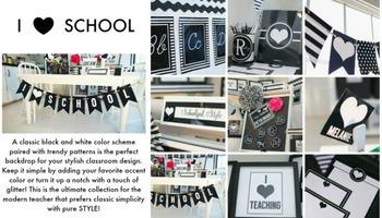 Classroom Decor Bundle -  I Heart School -  Full Collection