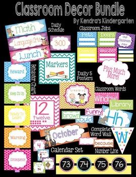Classroom Decor Bundle: Labels, Calendar, Schedule, Word W