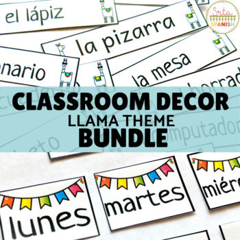 Llama Classroom Decor Bundle for Spanish Class