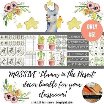 Classroom Decor Bundle - Llamas in the Desert