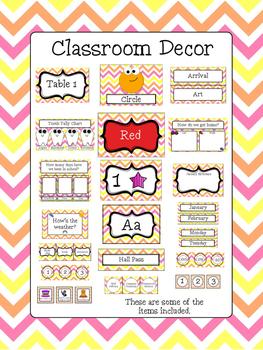 Classroom Decor Bundle - Orange, Pink, and Yellow Chevron