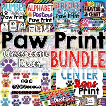 Classroom Decor Bundle PAW PRINTS Theme