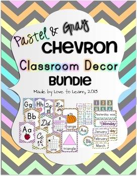 Classroom Decor Bundle - Pastel & Gray Chevron