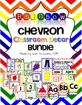 Classroom Decor Bundle - Rainbow Chevron
