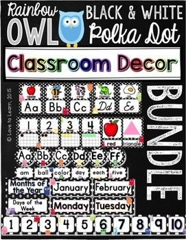 Classroom Decor Bundle - Rainbow Owl with Black & White Polka Dots