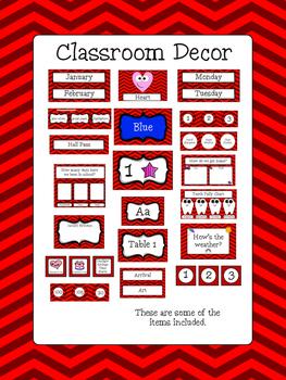 Classroom Decor Bundle - Red Chevron