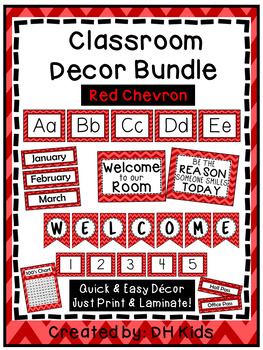 Classroom Décor Bundle: Red Chevron