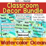 Classroom Decor Bundle: Watercolor Ocean