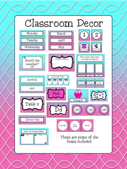 Classroom Decor Bundle - Wavy Design - Aqua and Pink