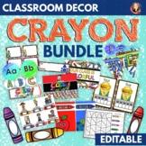 Classroom Decor Bundle in Bright Crayon Theme