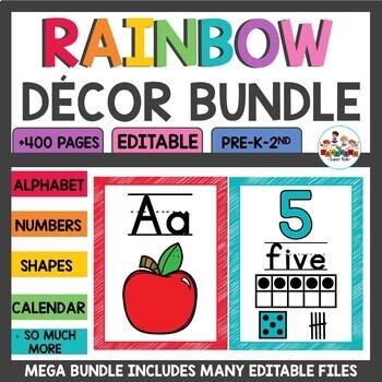 Classroom Decor Bundle in Primary Scribble