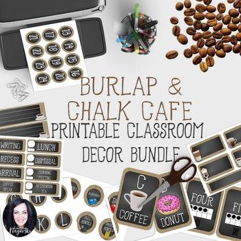 Classroom Decor - Burlap Chalkboard Cafe