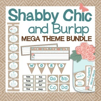 Shabby Chic and Burlap Classroom Decor - BUNDLE {Editable}