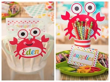 Classroom Decor By the SEA - Ocean Crab and Fish Editable Cut Outs
