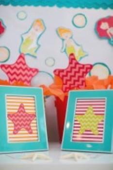 Classroom Decor By the SEA - Ocean Starfish Stripes Print