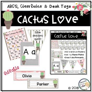 Classroom Decor Cactus Love-ABC Wall Charts, Desk Name Tags, Class Rules