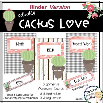Classroom Decor Cactus Love- Editable Binder & Desk Labels