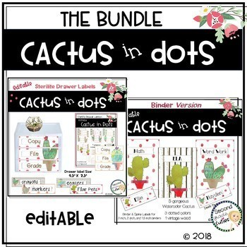 Classroom Decor Cactus in Dots themed BUNDLED