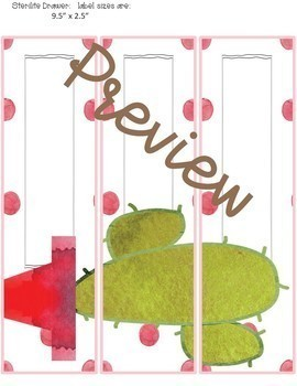 Classroom Decor Cactus in Dots- Editable Sterilite Drawer Labels